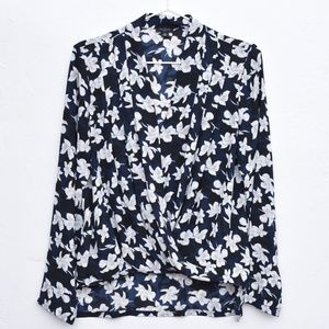 Ann Taylor Petite Floral Blossom Wrap Blouse NWOT
